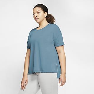 Nike Yoga Γυναικεία κοντομάνικη μπλούζα (μεγάλα μεγέθη)