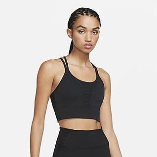 Nike Dri-FIT Camiseta corta de tirantes de entrenamiento con cordones para mujer