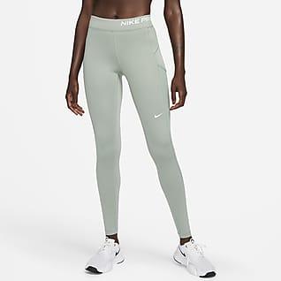 Nike Pro Therma-FIT Leggings de malla de tiro medio con bolsillo para mujer