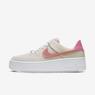 The 10 Nike Air Force 1 Low Dame Sko Hvid Lyserød Grøn