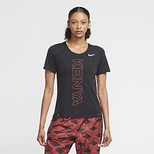 Nike Team Kenya City Sleek Женская беговая футболка