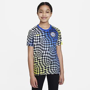 Chelsea FC Camiseta de fútbol de manga corta para antes del partido para niños talla grande