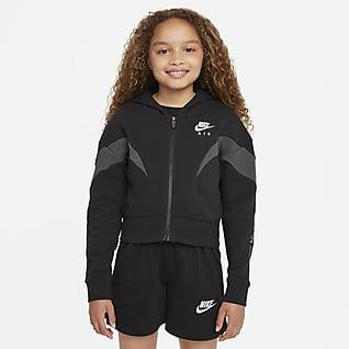Nike Air Hosszú cipzáras, kapucnis pulóver nagyobb gyerekeknek (lány)