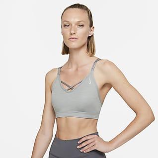 Nike Yoga Dri-FIT Indy Brassière de sport rembourrée à maintien léger et bretelles pour Femme