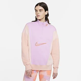 Nike Sportswear Camiseta de tejido Fleece y cremallera de 1/4 - Mujer