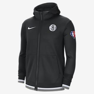 Brooklyn Nets Nike Showtime Nike Dri-FIT NBA Tam Boy Fermuarlı Erkek Kapüşonlu Üstü