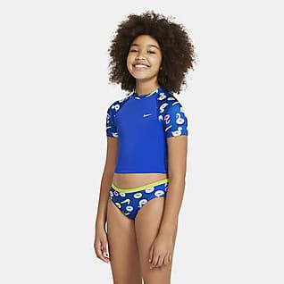 Nike Conjunto de natación con top corto de manga corta para niña talla grande