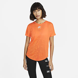 Nike Air Part superior de màniga curta de running - Dona