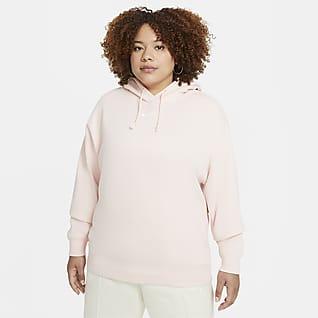 Nike Sportswear Collection Essentials Γυναικεία φλις μπλούζα με κουκούλα σε φαρδιά γραμμή (μεγάλα μεγέθη)