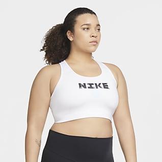 Nike Victory Icon Clash Közepes tartást adó, párnázás nélküli női sportmelltartó (plus size méret)