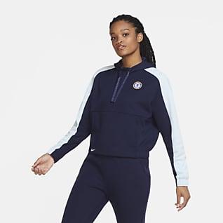 Chelsea FC Rövid cipzáras, rövidített szabású női kapucnis pulóver futballhoz