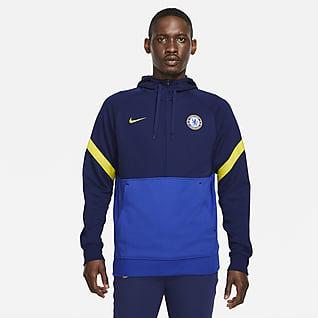 Chelsea FC Hoodie de futebol em lã cardada com fecho até meio para homem