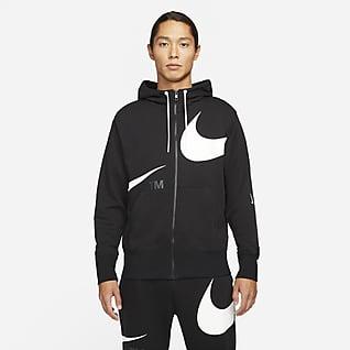 Nike Sportswear Swoosh เสื้อมีฮู้ดซิปยาวผ้าเฟรนช์เทรีผู้ชาย