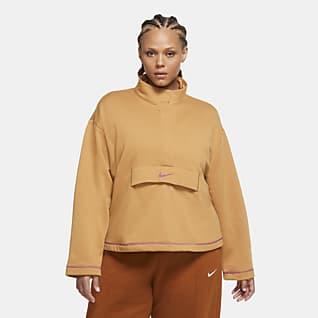 Nike Sportswear Swoosh Top de tejido Fleece con medio cierre para mujer