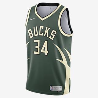Giannis Antetokounmpo Bucks Earned Edition เสื้อแข่ง Nike NBA Swingman ผู้ชาย