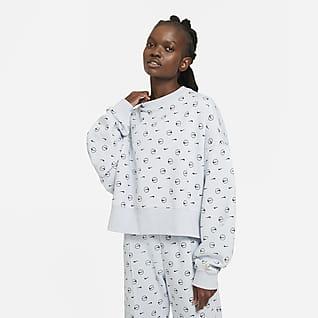 Nike Sportswear Flísová dámská mikina skulatým výstřihem spotiskem