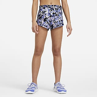 Nike Dri-FIT Tempo Löparshorts med tryck för ungdom (tjejer)