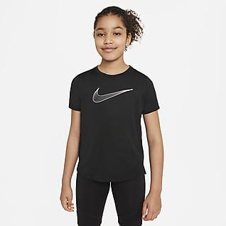 Nike Dri-FIT One Trainingstop met korte mouwen voor meisjes