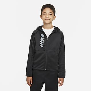 Nike Therma-FIT Træningshættetrøje med lynlås og grafik til store børn (drenge)
