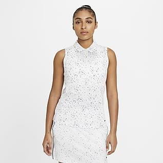 Nike Dri-FIT Polo de golf imprimé sans manches pour Femme