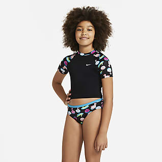 Nike Big Kids' (Girls') Short-Sleeve Crop Top Swim Set
