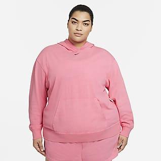 Nike Sportswear Damska bluza z kapturem z efektem sprania (duże rozmiary)