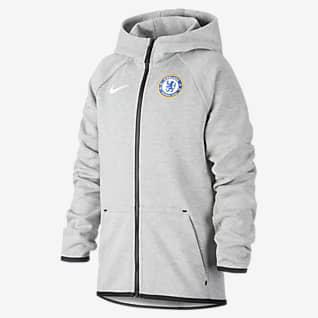Chelsea FC Tech Fleece Older Kids' Full-Zip Football Hoodie