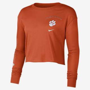 Nike College (Clemson) Women's Long-Sleeve Crop Sweatshirt