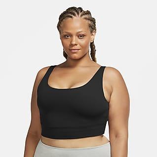 Nike Yoga Luxe Infinalon kort singlet til dame (Plus Size)