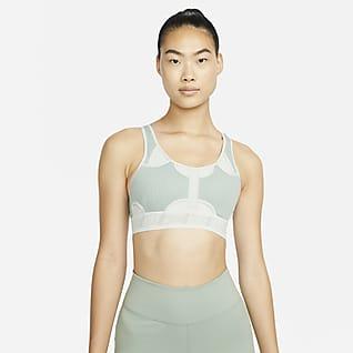 Nike Swoosh UltraBreathe สปอร์ตบราผู้หญิงซัพพอร์ตระดับกลางเสริมฟองน้ำ