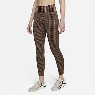 Nike Dri-FIT One Icon Clash 7/8-legging met print en halfhoge taille voor dames