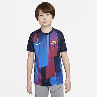 FC Barcelona Kurzärmeliges Pre-Match-Fußballoberteil für ältere Kinder