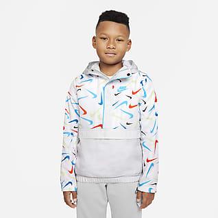Nike Sportswear Chamarra Anorak estampada tejido Woven para niño talla grande