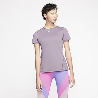 Nike Pro Женская футболка из сетчатого материала с коротким рукавом для тренинга