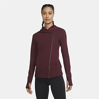 Nike Yoga Γυναικεία μπλούζα με κουκούλα και φερμουάρ σε όλο το μήκος