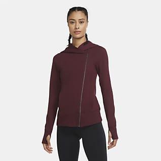 Nike Yoga Hosszú cipzáras, kapucnis női pulóver