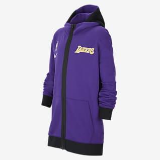 Los Angeles Lakers Showtime Nike Therma Flex NBA-hættetrøje til større børn
