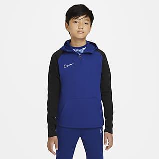 Nike Dri-FIT Academy Ποδοσφαιρική μπλούζα προπόνησης με κουκούλα και φερμουάρ στο 1/4 του μήκους για μεγάλα παιδιά