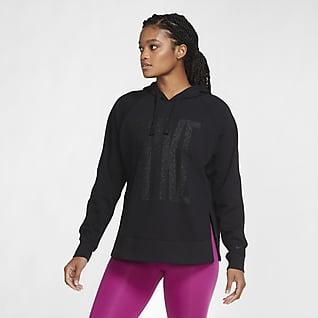 Nike Dri-FIT Get Fit Sudadera brillante con capucha y sin cierre para el entrenamiento de la mujer