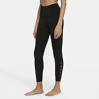 Nike Yoga Dri-FIT Женские слегка укороченные леггинсы с высокой посадкой и вырезами