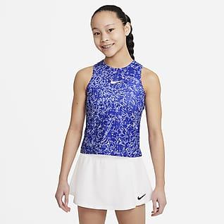 NikeCourt Dri-FIT Victory Koszulka bez rękawów do tenisa z nadrukiem dla dużych dzieci (dziewcząt)