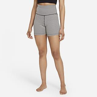 Nike Yoga Gingham-Shorts für Damen