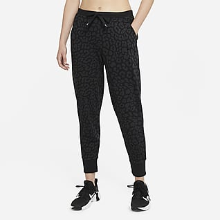 Nike Dri-FIT Get Fit Damskie spodnie treningowe z nadrukiem