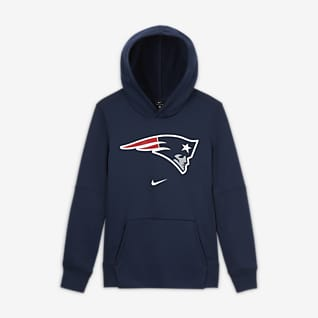Nike Essential New England Patriots Μπλούζα με κουκούλα και λογότυπο για μεγάλα αγόρια