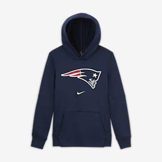 Nike Essential New England Patriots Bluza z kapturem i logo dla dużych dzieci (chłopców)