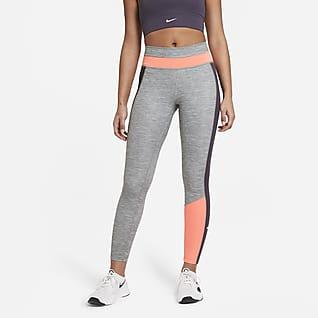 Nike One Женские слегка укороченные меланжевые леггинсы с цветовыми блоками