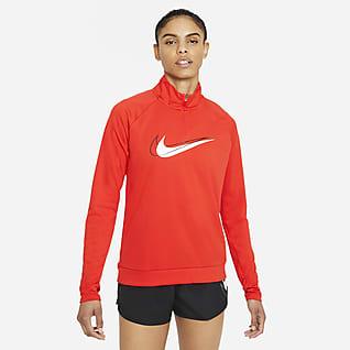 Nike Dri-FIT Swoosh Run Camada intermédia de running com fecho até meio para mulher