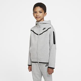 Nike Sportswear Tech Fleece Hættetrøje med lynlås til store børn (drenge)