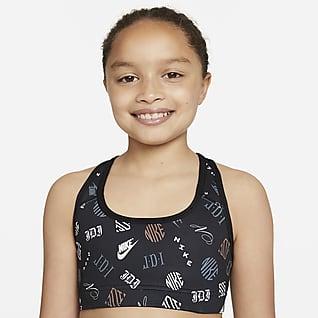 Nike Dri-FIT Swoosh Αθλητικός στηθόδεσμος διπλής όψης για μεγάλα κορίτσια