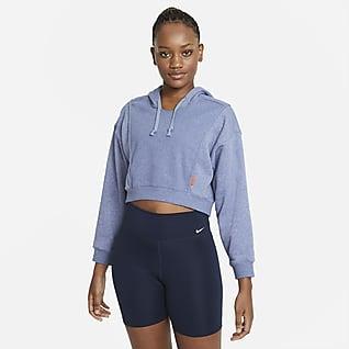 Nike Dri-FIT Sudadera de entrenamiento corta con gorro de tejido Fleece para mujer